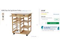 pine kitchen storage trolley