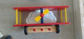 £10 ono: Colourful shelf with hooks, air plane shape