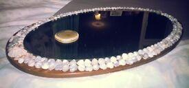 Seashell Bordered + Agate Stone Mirror