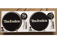 2 X Technics SL-1200 MK2 Turntables With White Carbon Covers