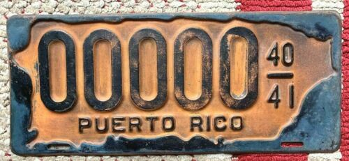 1940-1941 PUERTO RICO SAMPLE ALL ZEROS VINTAGE LICENSE PLATE ISLAND MAP OUTLINE