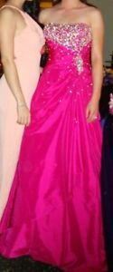 Stunning Hot Pink Jeweled A-Line Dress For Small Lady