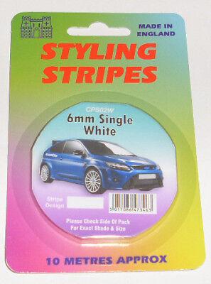 6mm WHITE PIN STRIPE COACHLINE TAPE x 10 METRE