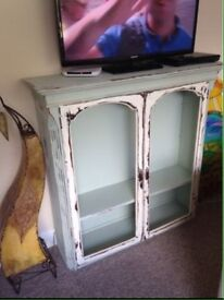 Shabby chic distressed old drink cabinet tv stand fireplace