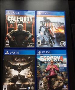 4 jeux PS4 (COD BO3, Batman Ak, BF4, Far Cry 4)