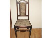 Lovely Old Top Quality Individual Wooden Chair Upholstered In Harvest Tapestry Design.
