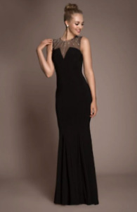 Gorgeous Black Mermaid Dress With Jewel Accents (size 6-4)