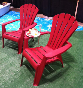 One Plastic Red Adirondack chair and a Folding Side Table