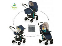 BRAND NEW HAUCK MIAMI 4 PRAM PUSHCHAIR TRAVEL SYSTEM CARSEAT CARRYCOT POOH READY TO PLAY BLUE UNISEX