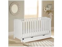 Cot Bed with Storage adjustable WHITE