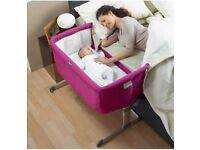 Chicco Next 2 me crib (Fushia) & fitted sheets