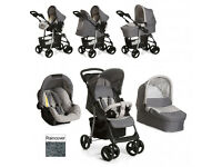 EXDISPLAY HAUCK SHOPPER TRIO SET TRAVEL SYSTEM PRAM PUSHCHAIR IN STONE GREY CAR SEAT CARRYCOT R/C