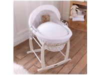 Beautiful white wicker moses basket and stand