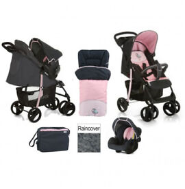 HAUCK SHOPPER SHOP N DRIVE 2 IN 1 TRAVEL SYSTEM PRAM PUSHCHAIR IN BIRDIE PINK REDUCED TO ONLY £109