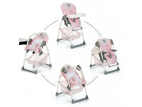 NEW BOXED HAUCK PINK BIRDIE SIT N RELAX 2 IN 1HIGHCHAIR LOW CHAIR & BOUNCER SEAT RECLINES FR BIRTH