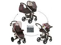 EXDISPLAY HAUCK MALIBU GIRLY TRAVEL SYSTEM IN DOTS WITH EVERYTHING, CAR SEAT PRAM CARRYCOT RAINCOVER