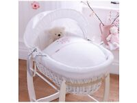 Clair De Lune White Wicker Moses Basket & Stand & Pink Stardust Cover - Exc Condition