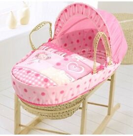 Lovely pink Moses basket