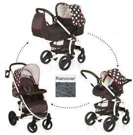 XD HAUCK MALIBU XL TRAVEL SYSTEM BLACK WHITE DOTS GIRLY PRAM PUSHCHAIR CAR SEAT CARRYCOT RAINCOVER.