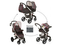 EXDISPLAY HAUCK MALIBU 3 IN 1 TRAVEL SYSTEM PRAM PUSHCHAIR IN BLACK WITH DOTS UNISEX SET FROM BIRTH