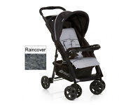 SHOP DISPLAY HAUCK COMFORT FOLD BUGGY PRAM PUSHCHAIR IN UNISEX BLACK GREY WITH RAIN COVER FROM BIRTH