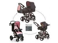 EXDISPLAY HAUCK MALIBU 3 IN 1 TRAVEL SYSTEM IN BIRDIE PINK PRAM PUSHCHAIR CAR SEAT CARRYCOT NO BAG