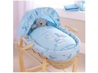 Baby boy blue moses basket and stand