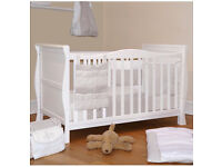 Cot bed 3 in 1 - walnut - with mattress