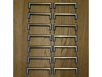 14x handles for kitchen cabinets / cupboards brushed stainless steel