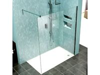 Kudos 8mm clear glass wet room panel - New