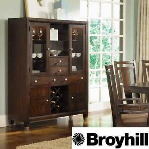 NEW* NORTHERN LIGHTS DINING CHEST 5312-60 139537024 BROYHILL WALNUT FINISH CHESTS CABINET LIT CABINETS STORAGE LIVING...
