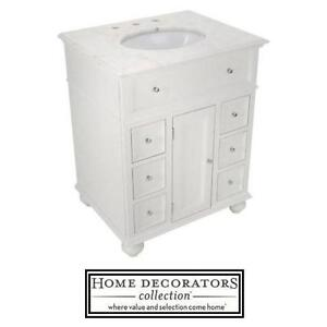"NEW* HDC 28"" WHITE VANITY COMBO - 117424682 - HOME DECORATORS COLLECTION - HAMPTON BAY - WHITE CABINET, WHITE MARBLE TOP"
