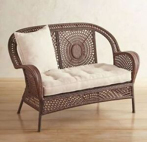 Pier1 Azteca Wicker sofa set with cushions and tables