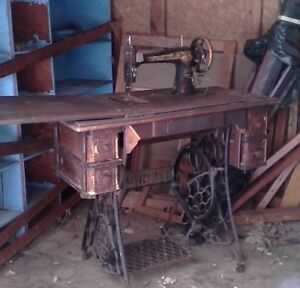Antique Singer (pedal) Sewing M-C on wrought Iron Stand