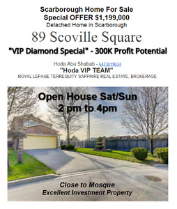 $1,199,000 Detached Home in Scarborough 89 Scoville Square !!