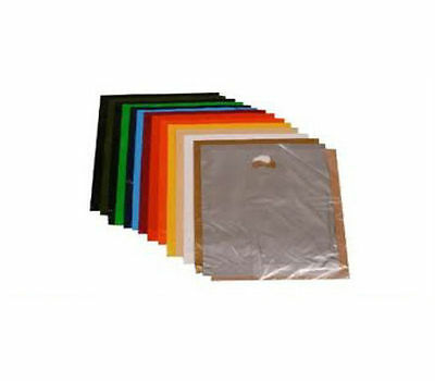 """50 HARRODS GREEN STRONG PLASTIC CARRIER BAGS - SIZE 10 x 16 x 4"""""""