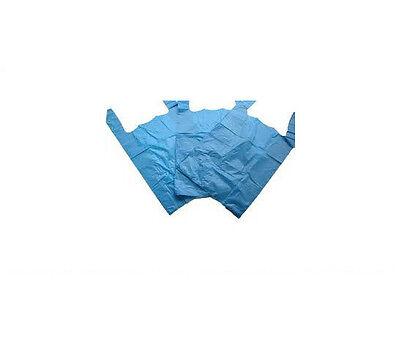 100x Blue Vest Plastic Carrier Bags Size 11x17x21