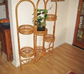 Vintage Late 20th Century Folding Bamboo Plant Screen.