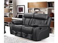 LUXURY VICTORIA BONDED LEATHER RECLINER SOFA WITH PULL DOWN DRINK HOLDER