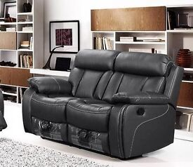 VIKKI 3 AND 2 SEATER BONDED LEATHER RECLINERS WITH DRINKS HOLDER