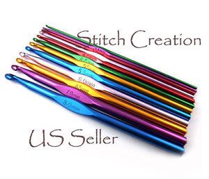 6-034-Aluminum-Crochet-Hooks-US-sizes-NEW