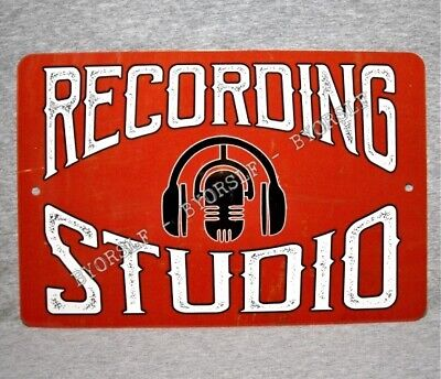 "Metal Sign RECORDING STUDIO sound mixing audio engineer music producer 8"" x 12"""