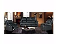 High Quality London Bonded Leather recliner sofa 3+2 seater colors in Black, Brown or Cream