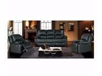 *30-DAY MONEY BACK GUARANTEE!*3 Seater London Bonded Recliner Leather Sofa -Black Cream&Brown Colors
