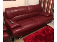 2 & 3 Red Leather sofas & Foot stool