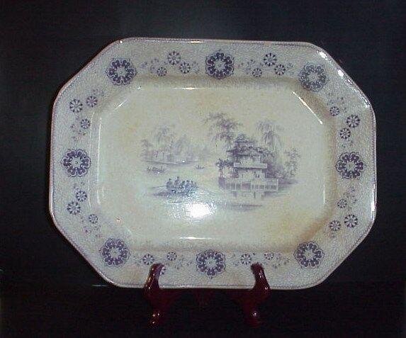 "Antique English Ironstone Caspian Serving Platter Large 18"" Purple"