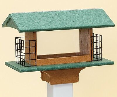 LARGE 2 SUET CAKE & SEED FEEDER - Post Mount Amish Handmade in USA