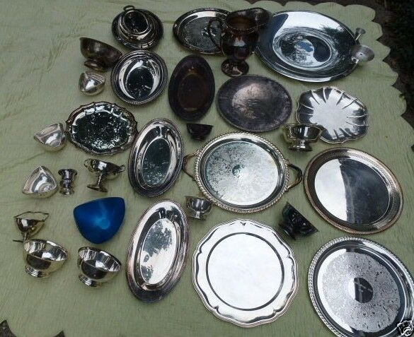 Silver Plate 53 pc 38lb Retail Jewelry Crafts Scrap Nickel Silver LA SALLE HOTEL