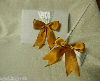 Wedding Party Ceremony ~50th Gold~  Anniversary Satin Guest Book & Pen Base  Set