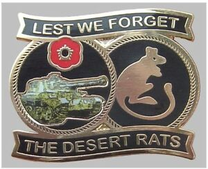 LEST WE FORGET THE DESERT RATS REMEMBRANCE METAL & ENAMEL PIN BADGE